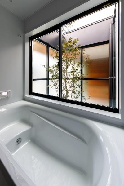 haus-cros 浴室 (haus-cros / 十字フレームが印象付ける和洋折衷テイストの箱型中庭住宅)