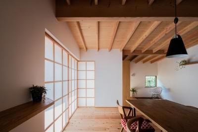 ダイニングから読書スペース (鎌ヶ谷の家D ー私だけの平屋ー)