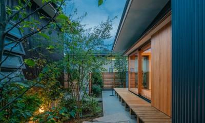 鎌ヶ谷の家D ー私だけの平屋ー (庭の夕景)