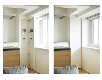 扉を付けて隠したインターホン (これまでの住まいの、お気に入りポイントはいかして不満点を解消した新しい住まい。)
