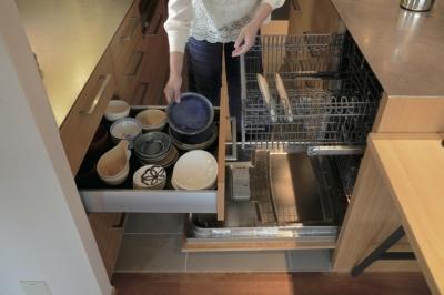収納動作を考えたキッチン (千葉県船橋市『私たちの家』)
