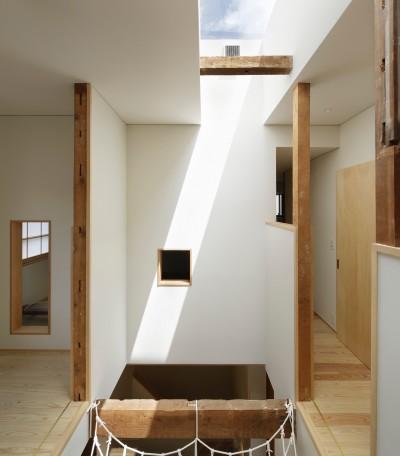 吹抜けとトップライト (東五反田の住宅/ 空き家木造住宅のリノベーション)