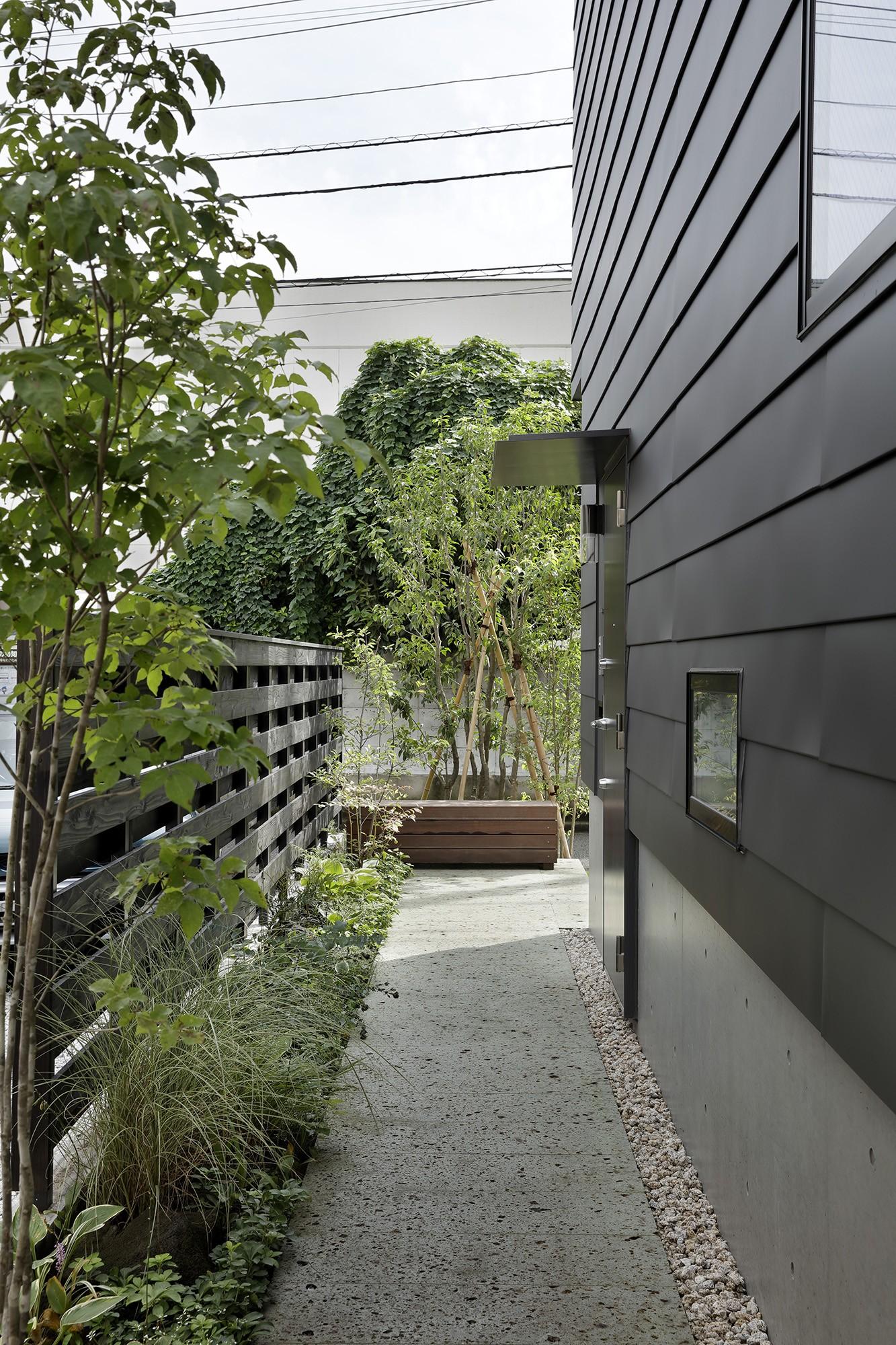 外観事例:アプローチ(桜上水の住宅 / 半地下と屋上の効果)