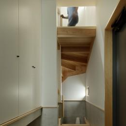 桜上水の住宅 / 半地下と屋上の効果 (玄関と階段)