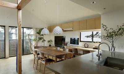 桜上水の住宅 / 半地下と屋上の効果 (ダイニングキッチン)
