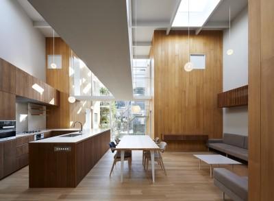 LDK (高尾の家  / 2つのテラスと大きなガラスドアで緩やかに自然を取り込む家)