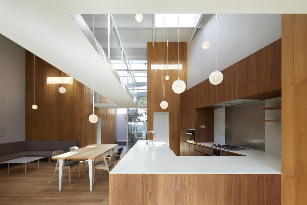 高尾の家  / 2つのテラスと大きなガラスドアで緩やかに自然を取り込む家 (LDK)