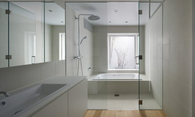 高尾の家  / 2つのテラスと大きなガラスドアで緩やかに自然を取り込む家 (バスルーム)