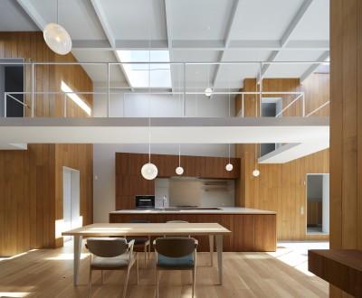 ダイニングキッチン (高尾の家  / 2つのテラスと大きなガラスドアで緩やかに自然を取り込む家)