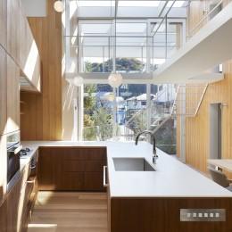 高尾の家  / 2つのテラスと大きなガラスドアで緩やかに自然を取り込む家 (キッチン)