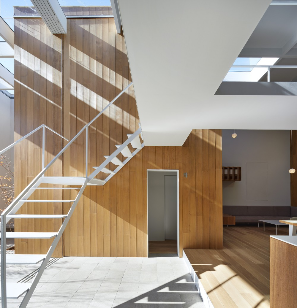 高尾の家  / 2つのテラスと大きなガラスドアで緩やかに自然を取り込む家 (階段)