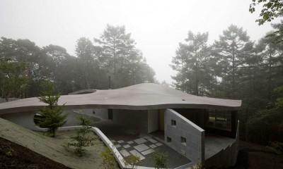 霧に包まれた曲面屋根 軽井沢カウンターポイント - 森に浮かぶコンクリート屋根の別荘 -