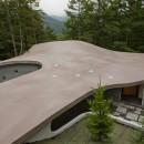 軽井沢カウンターポイント - 森に浮かぶコンクリート屋根の別荘 -の写真 コンクリート屋根を敷地上部より見おろす