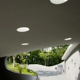 軽井沢カウンターポイント - 森に浮かぶコンクリート屋根の別荘 - (エントランスポーチとトップライト)