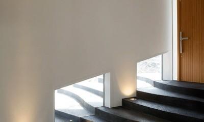 棚田のような階段のあるエントランスホール|軽井沢カウンターポイント - 森に浮かぶコンクリート屋根の別荘 -