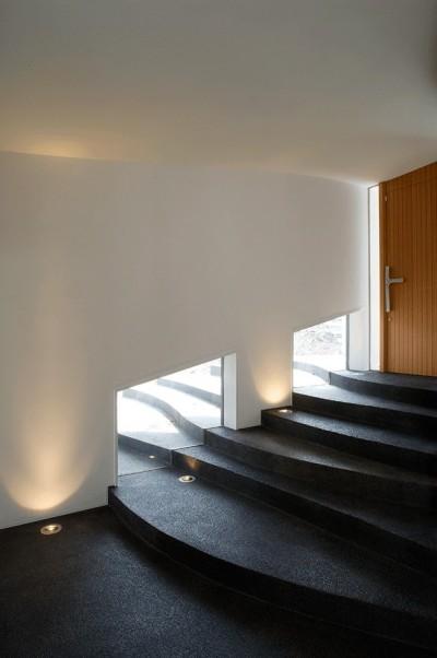棚田のような階段のあるエントランスホール (軽井沢カウンターポイント - 森に浮かぶコンクリート屋根の別荘 -)