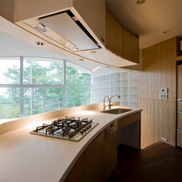 軽井沢カウンターポイント - 森に浮かぶコンクリート屋根の別荘 - (曲面キッチン)