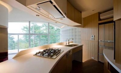 曲面キッチン|軽井沢カウンターポイント - 森に浮かぶコンクリート屋根の別荘 -
