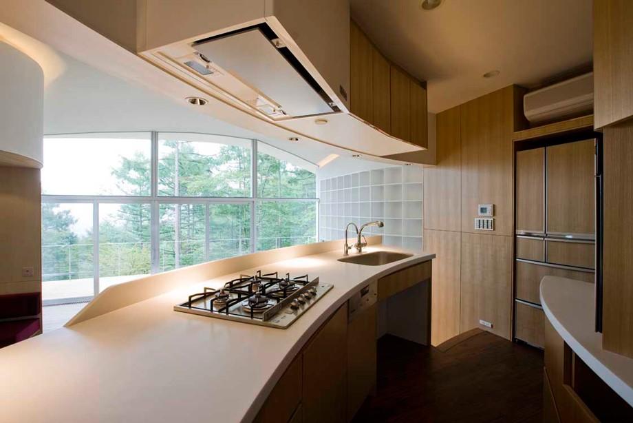 キッチン事例:曲面キッチン(軽井沢カウンターポイント - 森に浮かぶコンクリート屋根の別荘 -)
