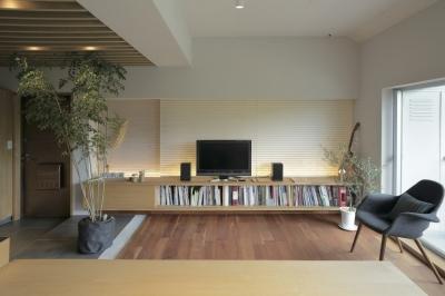 低くて水平なデザインのリビング (千葉県船橋市『私たちの家』)
