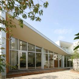 ねじれ屋根の家 - 弧を描く勾配天井 - (庭からの外観)