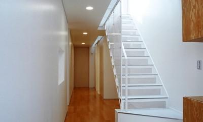 ねじれ屋根の家 - 弧を描く勾配天井 - (トップライトに照らされた階段を玄関から見る)