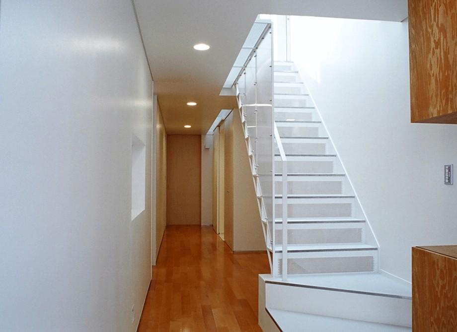 その他事例:トップライトに照らされた階段を玄関から見る(ねじれ屋根の家 - 弧を描く勾配天井 -)