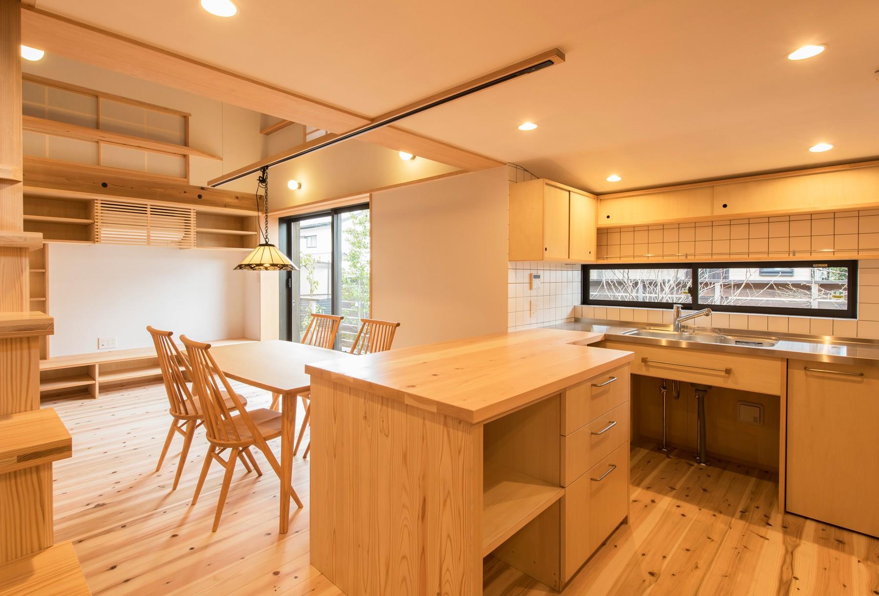 キッチン事例:キッチン&ダイニング(みはらしだいの家 三鷹市(半平屋の暮らし))
