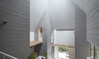 岩倉の家 / 閉じて開放感を得るトップライトハウス (吹き抜け)