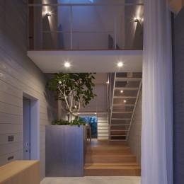 岩倉の家 / 閉じて開放感を得るトップライトハウス (エントランス)