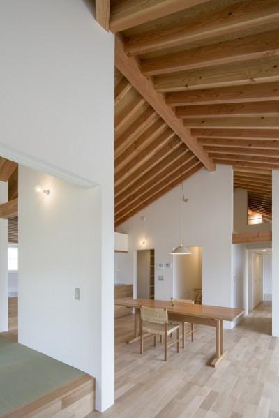 守山の家/大屋根に包まれた平屋の住まい (居間)