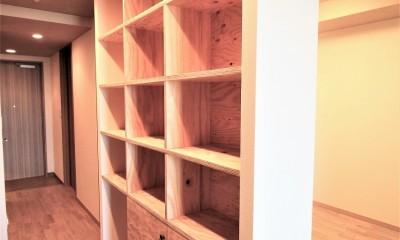 無垢の床とモールテックス仕上げの部屋 (ラーチ合板の収納棚)