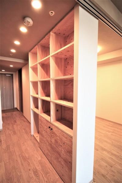 ラーチ合板の収納棚 (無垢の床とモールテックス仕上げの部屋)