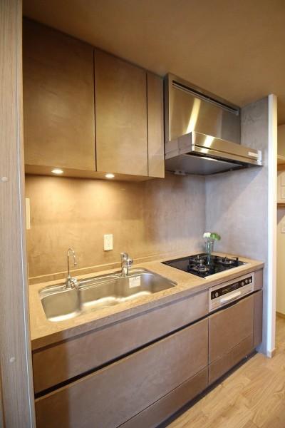 モールテックス仕上げのキッチン (無垢の床とモールテックス仕上げの部屋)