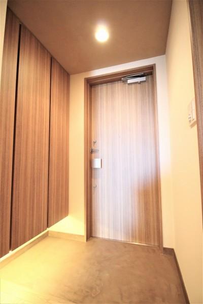 玄関ドアとシューズボックスの扉を同じ柄に (無垢の床とモールテックス仕上げの部屋)
