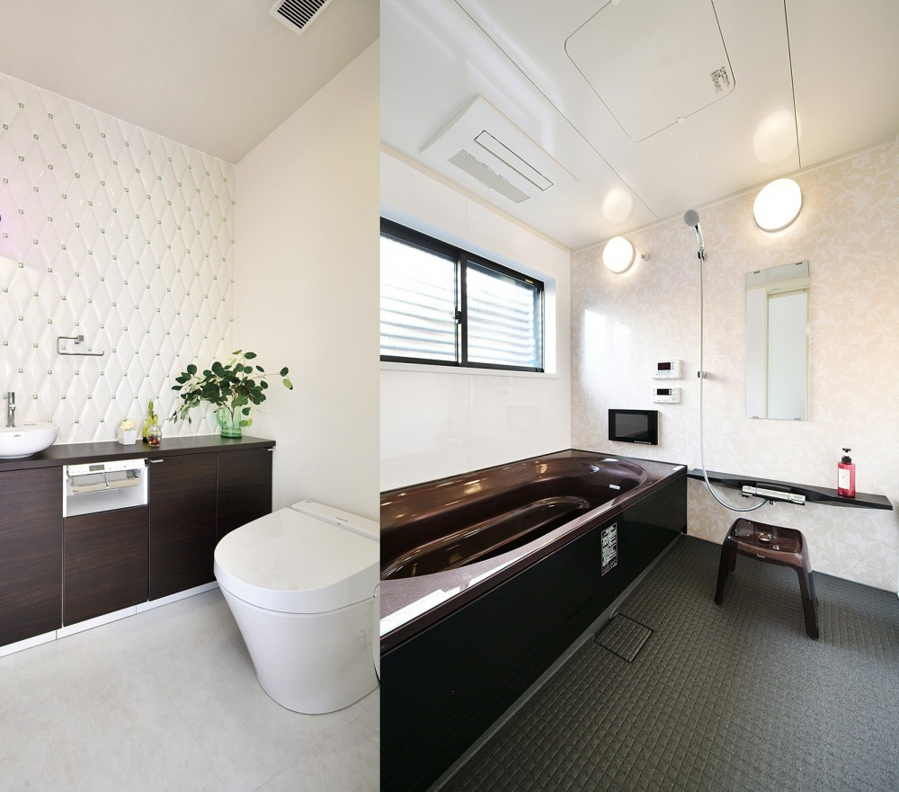 週末の家 セカンドハウスは「海」がテーマ (シックで高級感のあるバスルームとトイレ)