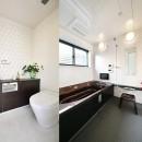 週末の家 セカンドハウスは「海」がテーマの写真 シックで高級感のあるバスルームとトイレ