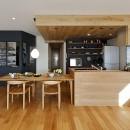 ヒュッテ(山小屋)のような北欧テイストの住まいの写真 木をふんだんに取り入れたダイニングキッチン