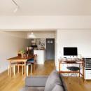 キッチンにもリビングにも見せる収納を取り入れて、生活導線もスッキリの写真 家具で遊び、可変できる部屋