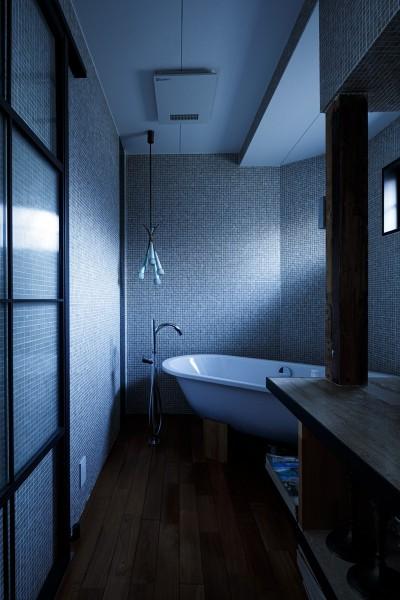 バスルーム (SENSUOUS-築50年以上の古さを生かし、デザインと素材にこだわった家づくり)