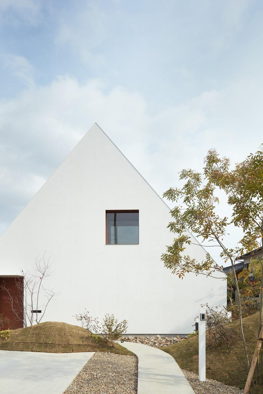 大垣の家 / インナーテラスに囲まれた三角屋根の家 (外観)