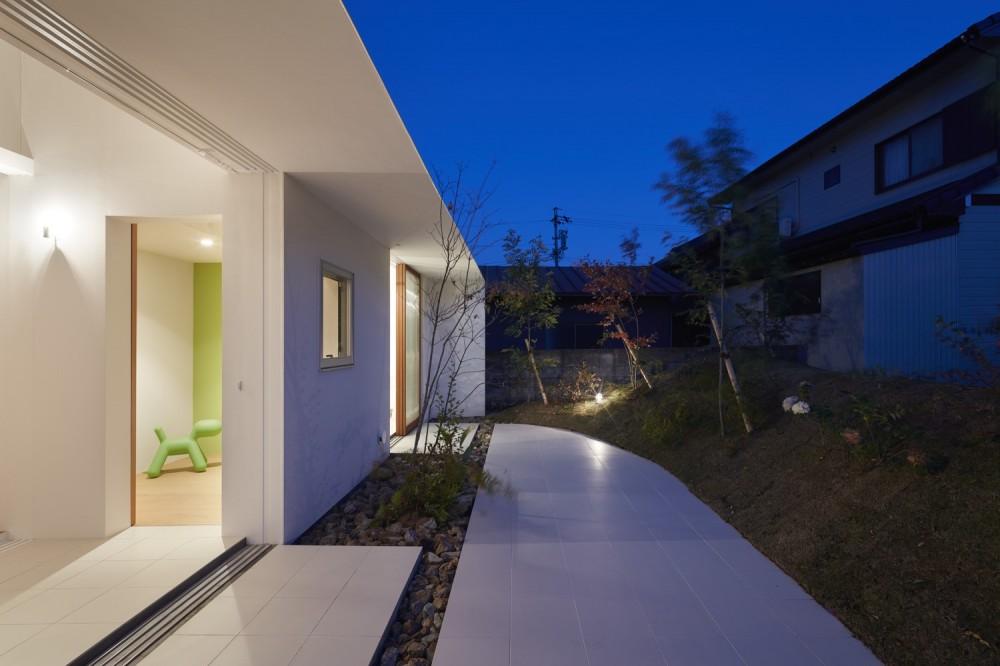 大垣の家 / インナーテラスに囲まれた三角屋根の家 (テラス)
