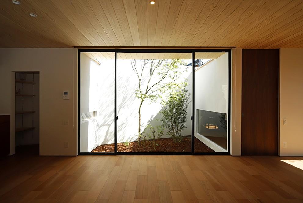リビングダイニング事例:リビング(【ikenouchi】塀をくぐると広がる開放感。移り変わる光、美しい景色や木肌が美しい平屋)
