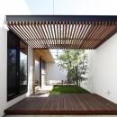 【ikenouchi】塀をくぐると広がる開放感。移り変わる光、美しい景色や木肌が美しい平屋の写真 庭