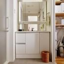 ツナガル家の写真 キッチン→パントリー→洗面室→。それぞれの機能だけではなく通路にもなる回遊間取りです。