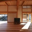 静岡の石場建ての写真 三間半の大曲の松梁