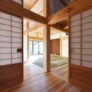 静岡の石場建ての写真 四方差しの大黒柱七寸