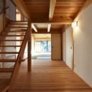静岡の石場建ての写真 階段室越しに、和室を見る