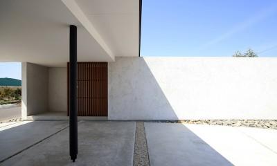 【ichinokuta】無駄のない美空間が広がる平屋のコートハウス (玄関アプローチ)