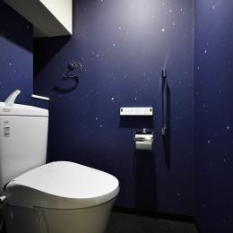 「青」と「黒」のクールな趣味空間 (オリジナルで制作 星空クロスのトイレ)